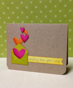 Neon hearts on kraft