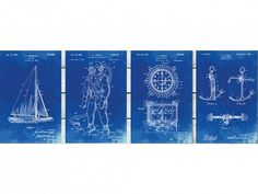 "Artwork is essential for any bachelor pad, and these four 16 x 20 canvas blue prints featuring a sail boat, diving suit, compass, and anchor will give your place a stylish look. This nautical theme is perfect for any one who loves sea, sailing, or lives by a large body of water.      Canvas is museum quality and treated for moisture and fade resistance stretched over North American pine. The frames are 1.25"" Thick. Ready to hang.    Printed on demand and inspected by 3 sets of eyes to…"