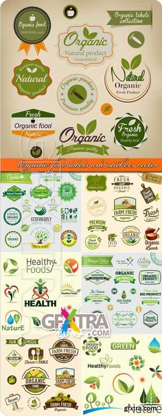 Organic food labels and stickers vector Healthy benefits of an organic garden farmersme.com