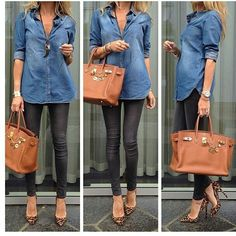 Jean shirt, black pants, leopard shoes, gold birkin..Love this look