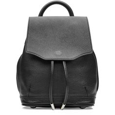 Rag & Bone Small Leather Backpack ($390) ❤ liked on Polyvore featuring bags, backpacks, sac, accessories, black, genuine leather bags, handle bag, genuine leather backpack, drawstring bag and drawstring backpack bags