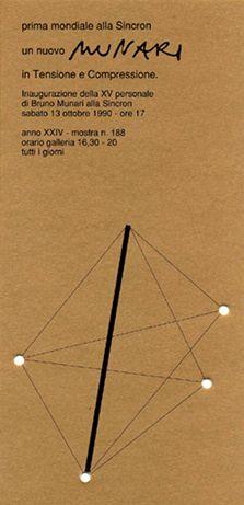 Bruno Munari, dal cartoncino della mostra un nuovo munari, Galleria Sincron, 1990