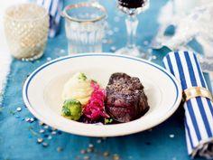 Oxfilé med jordärtskockspuré och rödlöksmarmelad Aioli, Pina Colada, Wine Recipes, Risotto, Steak, Beef, Food, Salta, Apples