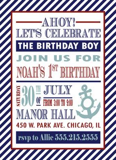 Nautical Birthday Invitation  Ahoy Let's by InvitingPrintables, $15.00