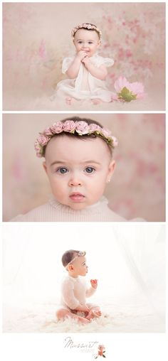 Six month studio sitter session; baby girl; floral backdrop; flower crown | Photo by Massart Photography, RI MA CT www.massartphotography.com; info@massartphotography.com