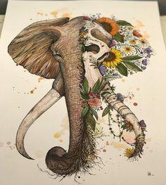 Perfect Elephant illustration art done by artist Dino Nemec Kunst Tattoos, Body Art Tattoos, Sleeve Tattoos, Tatoos, Sleeve Tattoo Designs, Floral Skull Tattoos, Ship Tattoos, Crow Tattoos, Phoenix Tattoos