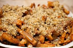 Fries, dressing (you call it stuffing) and gravy,so fattening, yum Rock Recipes, Great Recipes, Potato Dishes, Potato Recipes, Newfoundland Recipes, Newfoundland Canada, Canadian Food, Canadian Recipes, Best Junk Food