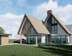 Ontwerp voor een modern landelijke woning - Bongers Architecten BNA Style At Home, Timber Buildings, House Goals, Pool Houses, Modern House Design, Home Deco, Modern Farmhouse, Bungalow, Beautiful Homes