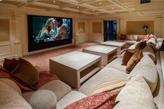 Home theater but with a huge cozy couch instead of theater chairs My Dream Home, Dream Big, Cozy Couch, Home Theater Design, Cinema Room, Home Cinemas, Dream Rooms, House Rooms, Home And Living