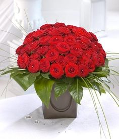 Amadora 50 red rose bouquet including diamanté - Passion For Flowers Liverpool, perfect for Valentines day