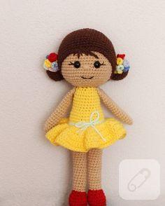 Amigurumi oyuncak sarı elbiseli kız – 10marifet.org
