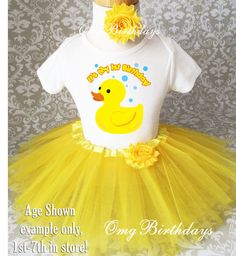 Fast Shipping - Yellow Orange Rubber Duck Duckie Ducky 7th Seventh Shirt & Tutu Set Girl Outfit Party 3t 4t 5t 5/6 7