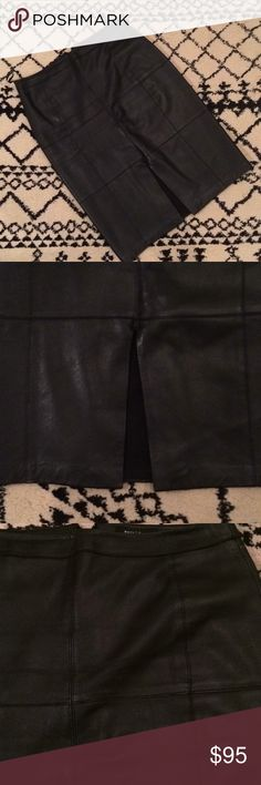 """[White House Black Market] black leather skirt. Gorgeous! 100% leather, BLACK pencil skirt with a center front slit and a stitched block pattern. In amazing condition! Sits at the waist, back zip; hook-and-eye close. Fully lined, professional leather clean. The first picture is a stock picture, of another color. This listing is for black leather :) Approx. 26"""" center back length. Make an offer! Or better yet, bundle! White House Black Market Skirts Pencil"""