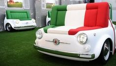 Fiat 500 Design Collection - Fiat is paying tribute to its iconic 500 with a new collection of furniture dubbed the Fiat 500 Design Collection. The Fiat 500 Design Collection i. Funny Furniture, Car Part Furniture, Unusual Furniture, Automotive Furniture, Retro Furniture, Furniture Design, Automotive Decor, Italian Furniture, Recycled Furniture