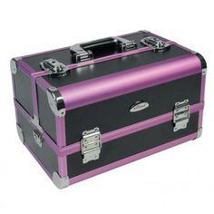 Beauty Case 21 L Kosmetikkoffer Spiegelkoffer Friseurkoffer + Spiegel - 4 Fächer  | Glatt Schwarz / Rahmen Violett