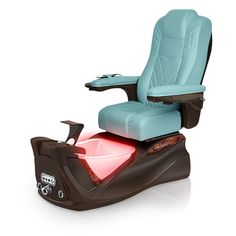 Infinity pedi-spa shown in Neptune Ultraleather cushion, Mocha base, Aurora LED Color-Changing bowl (shown in red)