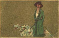 Art Deco Illustration of Borzoi and Lady  http://www.angelfire.com
