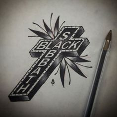 "In elementary school my uncle Cookie gave me a Black Sabbath cassette tape (We Sold Our Souls for Rock n' Roll). He said, ""This is going to change your life"". He was sho right. Tattoo idea sketch."