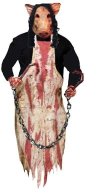 Imagine seeing this in the dark! Perfect for your haunted house or home display. Pig's head and torso wearing a bloody apron while hand clutches two bloody butcher hooks with chain. 36 inches long.
