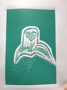 The owl Lino Prints, Owl, How To Make, Movie Posters, Film Poster, Owls, Popcorn Posters, Film Posters