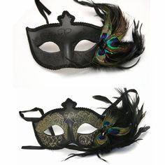 Black Venetian Half Mask With Feathers