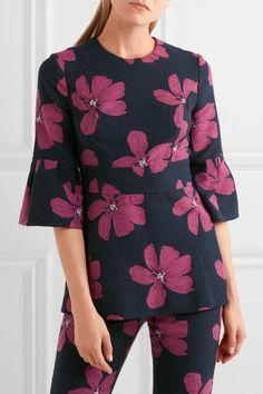 Lela Rose - Cotton-blend Floral-jacquard Peplum Top - Midnight blue - US12