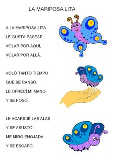 la mariposa lita Spanish Lessons For Kids, Learning Spanish For Kids, Spanish Teaching Resources, Spanish Activities, Rhyming Activities, Class Activities, Nursery Songs, Nursery Rhymes, Animal Poems