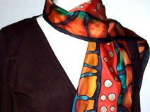 """Silk painting, Hand painted silk scarf, made by Sybille """"bille07"""""""