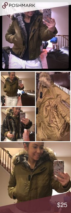 FLASH SALE! Reversible Akdmks winter jacket sz S FLASH SALE on Jackets! If unsold I'm donating! Reversible winter jacket sz Sm. COZY, warm &soft! Darker Olive Green on one side &salt n pepper stripe faux fur on the other. Large oversized faux fur lined hood. used coat. Photos included to show blemishes. inner right arm seam has some fraying. The side I wore as the inside (fur side) has come in contact w/ bleach so approximately 3in bleach mark. if worn with green on outside bleach can't be…