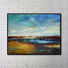 Contemporary Wall Art Grassland Abstract Wall Print with Black Frame 48