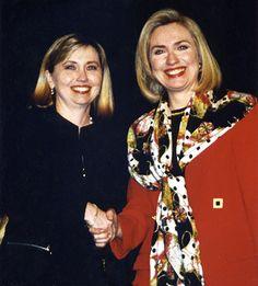 Hillary and her stunt double Theresa Barnwell