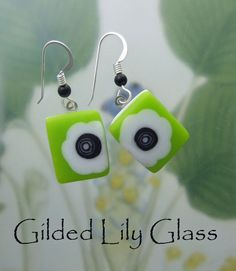 Lime Blooms Earrings Fused Glass Jewelry by gildedlilyglass, $28.00