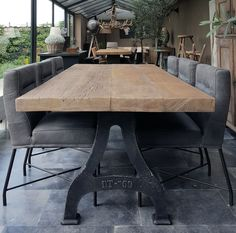 Industrial table with a sunburned reclaimed oak. The sunburned oak boards are from old houses, and have a beautiful patina. tinted by the sun! Industrial Light Fixtures, Industrial Table, Industrial Apartment, Industrial Lighting, Vintage Lighting, Industrial Furniture, Vintage Industrial, Industrial Design, Wood Table Design