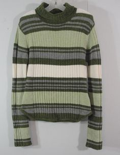 Airport Ribbed Knit Olive Green Striped Turtleneck Sweater Girls size Medium #Airport #Pullover #DressyEveryday