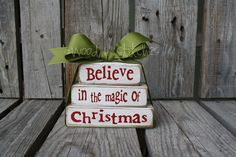 Christmas decor  blocks BELIEVE in the MAGIC Mini Stacker  Primitive wood block set winter snowflake personalized sign blocks