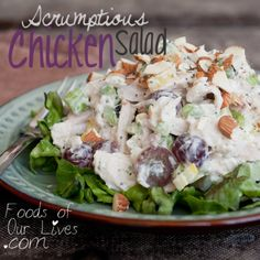 Chicken Salad   4 cups diced chicken 1 stalk celery 4 scallions 1½ teaspoons finely chopped fresh tarragon or fresh dill 2 tablespoons finely chopped parsley ¼ cup sliced grapes ¼ cup toasted almonds 1 cup prepared or homemade mayonaise 2 teaspoons strained freshly squeezed lemon juice 1 teaspoon dijon mustard 2 teaspoons kosher salt Freshly ground black pepper Preparation Instruction