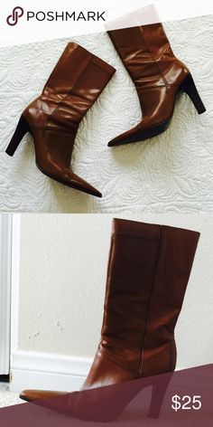 """Bakers leather boots. Good condition. Color: tan, heel height 4"""" Bakers Shoes Heeled Boots"""