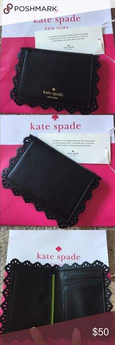 NWT Kate Spade Cecelia black cardholder 4 cardslots & 2 slots that could hold more cards or receipts. Black lace-like border.  This item came with a tag that warns the color may rub off on clothing or other fabrics so be careful. kate spade Bags Wallets