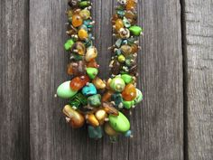 Green Statement Necklace OOAK Jewelry Baltic Amber Turquoise Amazonite Fluorite Apatite Howlite Hematite Forest Spring Moss Raw Stone. $160.00, via Etsy.