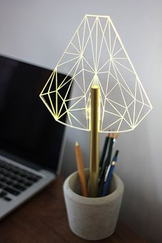 WIRED_Btype lamp  concrete pot pen holder night by SturlesiDesign