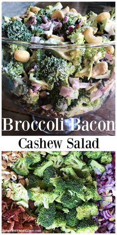 Crowd-pleasing potluck and summer salad, Broccoli Bacon Cashew Salad Recipe is made with a delicious, sweet dressing. #broccolisalad #summersalad #bacon via @sandycoughlin