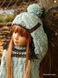 Hand-knit Sweater, Ear-flap Hat & Mitts for Kidz n Cats dolls by Debonair Designs