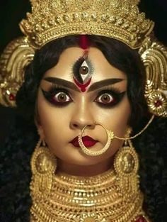 Kali Goddess, Goddess Art, Mother Goddess, Flower Jewellery For Haldi, Durga Painting, Durga Ji, Kali Hindu, Kali Mata, Durga Images
