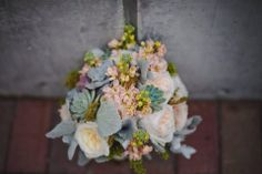 A beautiful bouquet with old roses and succulents from TheSucculentSource