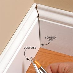 DIY: Excellent instructions, pictures & videos that explain how to make perfect mitered corner cuts for baseboards, doors, windows, etc. - via Family Handyman Base Moulding, Moldings And Trim, Molding Ideas, Faux Crown Moldings, Diy Projects To Try, Home Projects, Trim Carpentry, Home Fix, Trim Work