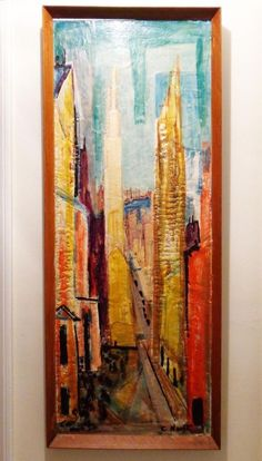 MODERNIST ENCAUSTIC WAX LARGE CITYSCAPE PAINTING ON BOARD BY C. NORTH, Mid-Cent (SOLD)