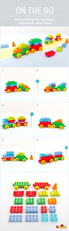 """Those famous words we all love to hear… """"are we nearly there yet?!"""" Keep your toddlers entertained on the move, with these fun car builds. Only 15-20 DUPLO bricks required! http://www.lego.com/en-us/family/articles/on-the-go-road-trip-car-building-game-71d8c74de7d74c7eabda7e67bf7fbe03"""