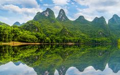 Download wallpapers mountain landscape, tropical island, Thailand, jungle, river
