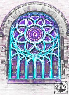 stained glass church window, beautiful geometric pattern