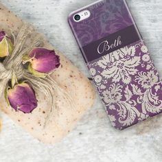 "Women's fashion accessory Monogram Iphone 6 case Floral iPhone 5c case Boho iPhone 5 case Pretty Iphone 5s case cute Purple damask 9698 11.33  purchase here >>spree.to/7ce  Include your name or initial(s) when you checkout so I can personalize this monogrammed phone case for you. There will be an ""Note to sellers Add"" link at PayPal checkout RIGHT BELOW YOUR ADDRESS in small letters on the ""Review your Information"" page.  That is where you leave your message.  purchase here >>spree.to/7ce…"